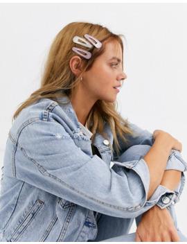 New Look – Flerfärgade Hårspännen Med Glitter Och Harts by New Look