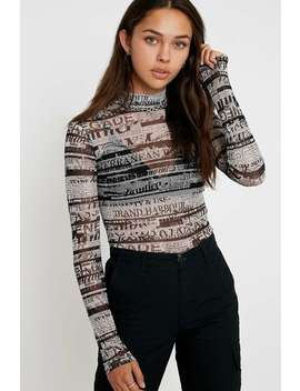 Uo Newspaper Mesh Funnel Neck Top by Urban Outfitters