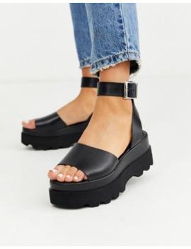 Asos Design – Temple – Svarta Flatform Sandaler I Läder by Asos Design