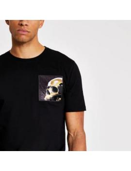 Zwart Slim Fit T Shirt Met Doodshoofd Lapje by River Island