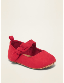 Faux Suede Bow Tie Ballet Flats For Baby by Old Navy