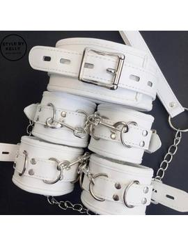 6 Piece White Leather Bdsm Restraints,Bdsm Slave Collar,Ball Gag,Sex Toys,Handcuffs,Bdsm Toys,Bdsm Gear For Women by Etsy