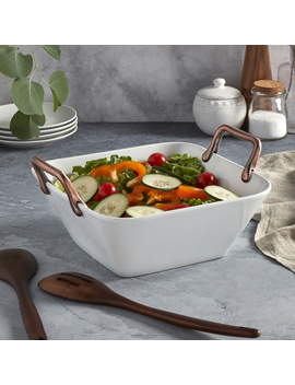 """Denmark 11.25"""" Square White Porcelain Serving Dish With Copper Handles by Denmark"""