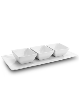 Gibson Elite Gracious Dining 3 Piece Tidbit Serving Dish Set With Tray In White by Gibson
