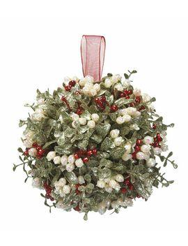 "Kissing Krystals 10"" Holly Kissing Ball Mistletoe Christmas Decor Ornament, Ganz by Ganz"