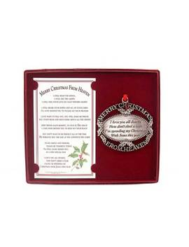 Merry Christmas From Heaven (R)   Pewter Oval Ornament by Mooney Tunco