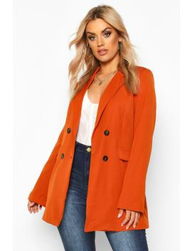 Plus Woven Double Breasted Tailored Blazer by Boohoo