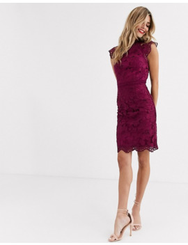 Chi Chi London Lace Pencil Dress In Mulberry by Chi Chi London