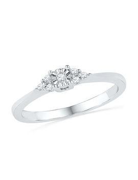 1/10 Ct. T.W. Diamond Tri Side Promise Ring In 10 K White Gold by Zales