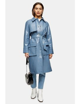 Petite Blue Crocodile Trench by Topshop