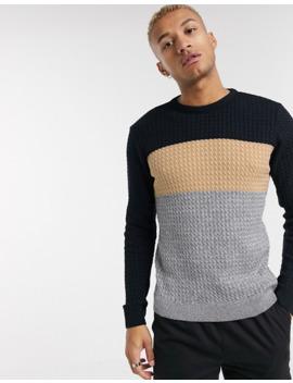 Boohoo Man Colourblock Fisherman Knit Jumper In Grey by Boohoo Man
