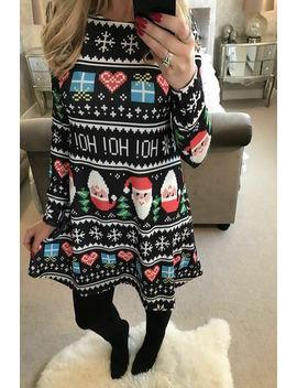 Womens Christmas Jumper Dress Santa Snowman Long Sleeves Ladies Mini Dress New by Calsunbaby