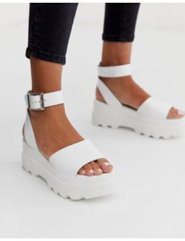Asos Design – Temple – Vita Flatform Sandaler I Läder by Asos Design