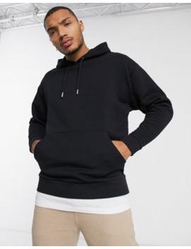 Asos Design Oversized Hoodie In Black With T Shirt Hem by Asos Design
