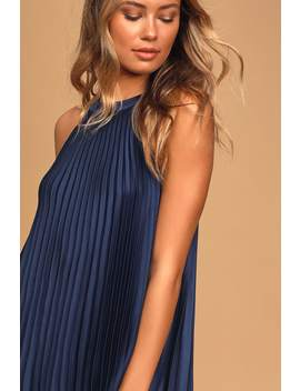Dance It Out Navy Blue Pleated Halter Mini Shift Dress by Lulus