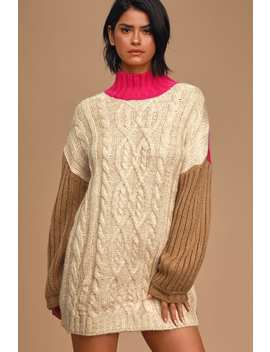 Block It Out Pink Multi Color Block Cable Knit Sweater Dress by Moon River