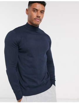 Pull&Bear Turtle Neck Jumper In Navy by Pull&Bear