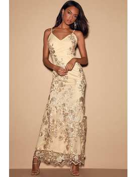 Here To Charm Gold Embroidered Sleeveless Maxi Dress by Lulus