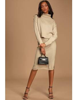 Chic You Out Beige Knit Bodycon Two Piece Midi Dress by Lulus