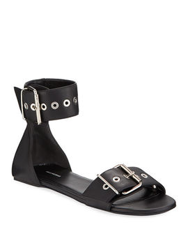 Flat Belted Leather Sandals by Balenciaga