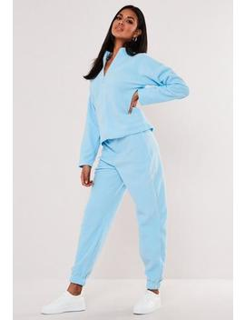 Powder Blue Co Ord Fleece 90s Joggers by Missguided