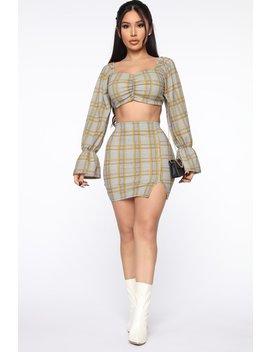 Always So Clueless Plaid Skirt Set   Mustard/Combo by Fashion Nova