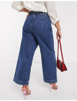 Asos Design Curve High Rise 'easy' Wide Leg Jeans In Mid Wash Blue by Asos Design