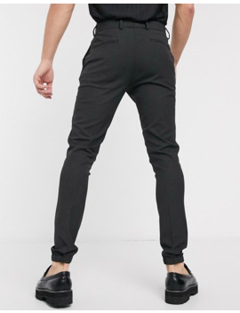 Asos Design Smart Super Skinny Trousers In Charcoal With Jogger Cuffs by Asos Design