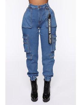 Good Vibes Always Denim Joggers   Blue by Fashion Nova
