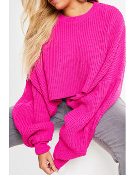 Curve Meggan Grubb Pink Rib Knit Oversized Cropped Jumper by In The Style