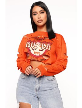 Front Row At The Concert Long Sleeve Top   Neon Orange by Fashion Nova