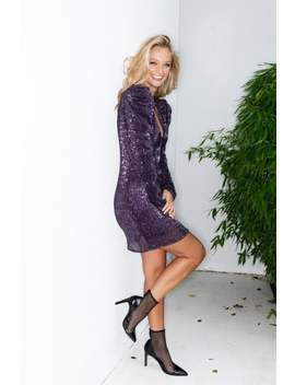 Liena Purple Sequin Puff Sleeve Mini Dress by Little Mistress