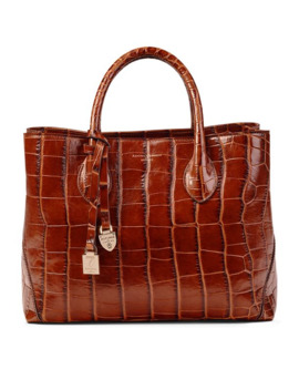 Croc Embossed Leather London Tote Bag by Aspinal Of London