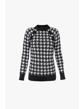 Buttoned Black And White Houndstooth Mohair Sweater by Balmain