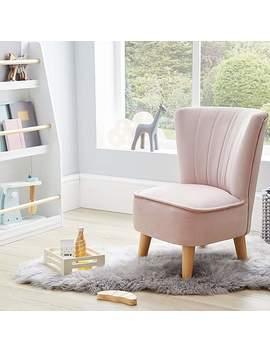 Kids Miniature Isla Velvet Cocktail Chair   Blush by Dunelm