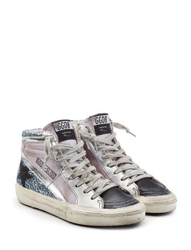 Glitter And Leather Slide Sneakers In Blue by Golden Goose
