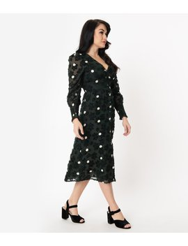 Dark Hunter Green & Ivory Polka Dot Flocked Midi Dress by Unique Vintage