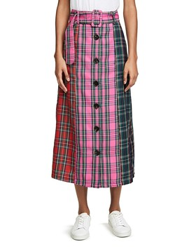 Colorblock Tartan Skirt by English Factory