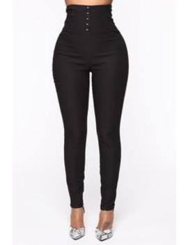 Took The Throne High Rise Pants   Black by Fashion Nova
