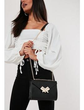 Black Arrow Buckle Detail Handbag by Missguided