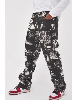 Punk Rock Photograph Print Skate Jeans by Jaded London