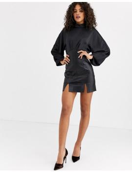 Asos Design Tall   Robe Fourreau Mi Longue En Pu Effet Croco Avec Haut En Satin à Encolure Haute by Asos Design