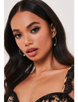 Gold Look Crystal Ball Hoop Earrings by Missguided
