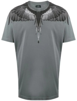 Wings Print Crew Neck T Shirt by Marcelo Burlon County Of Milan