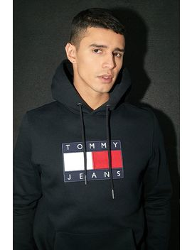 Tommy Jeans Black Metallic Flag Hoodie by Tommy Jeans