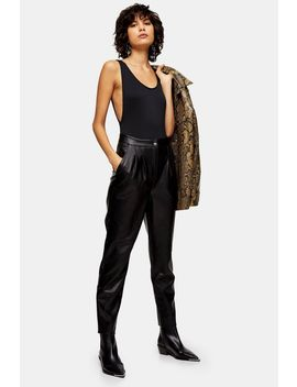 Black Faux Leather Peg Pants by Topshop