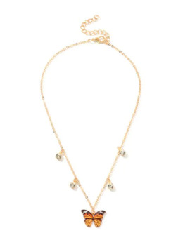 Butterfly Rhinestone Pendant Necklace   Tangerine by Zaful