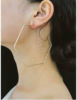 Exaggerated Hexagonal Hoop Earrings   Gold by Zaful