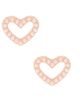Rose Gold Pearl Heart Stud Earrings by Claire's