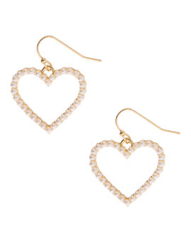 "Gold 1"" Pearl Heart Drop Earrings by Claire's"